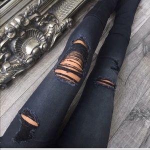 EkAttire Black Wash Out Ripped Jeans